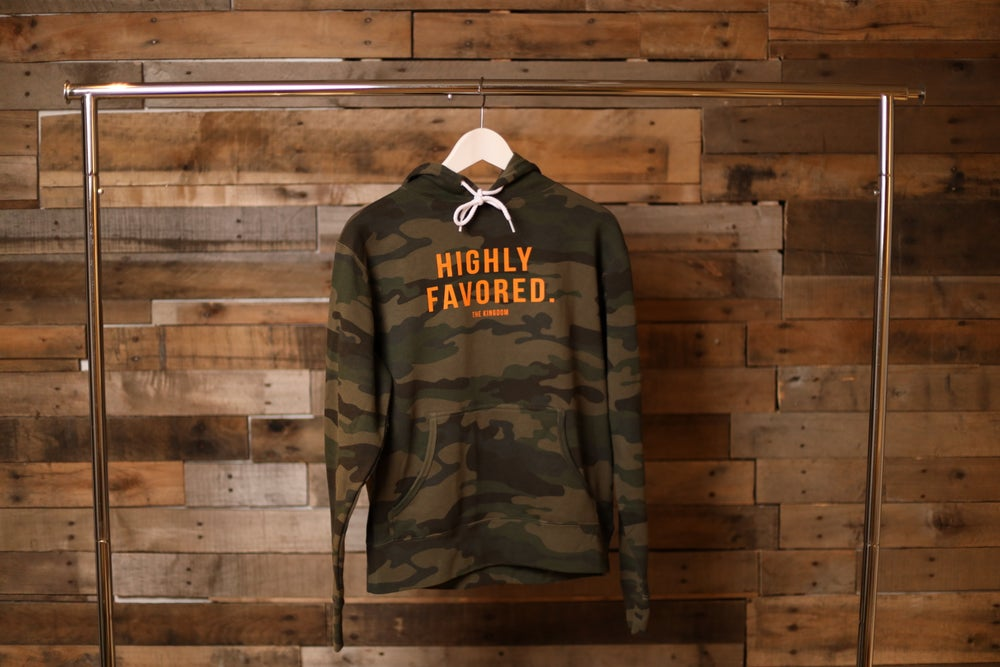 Image of Highly Favored Camo Hoodie