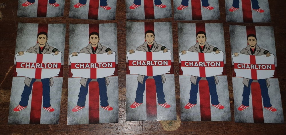 Image of Charlton football/ultras pack of 25 10x5cm stickers.