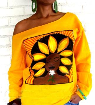"Image of The ""Sunflower (Soulflower) Sweatshirt Wide Scoopneck in Gold"