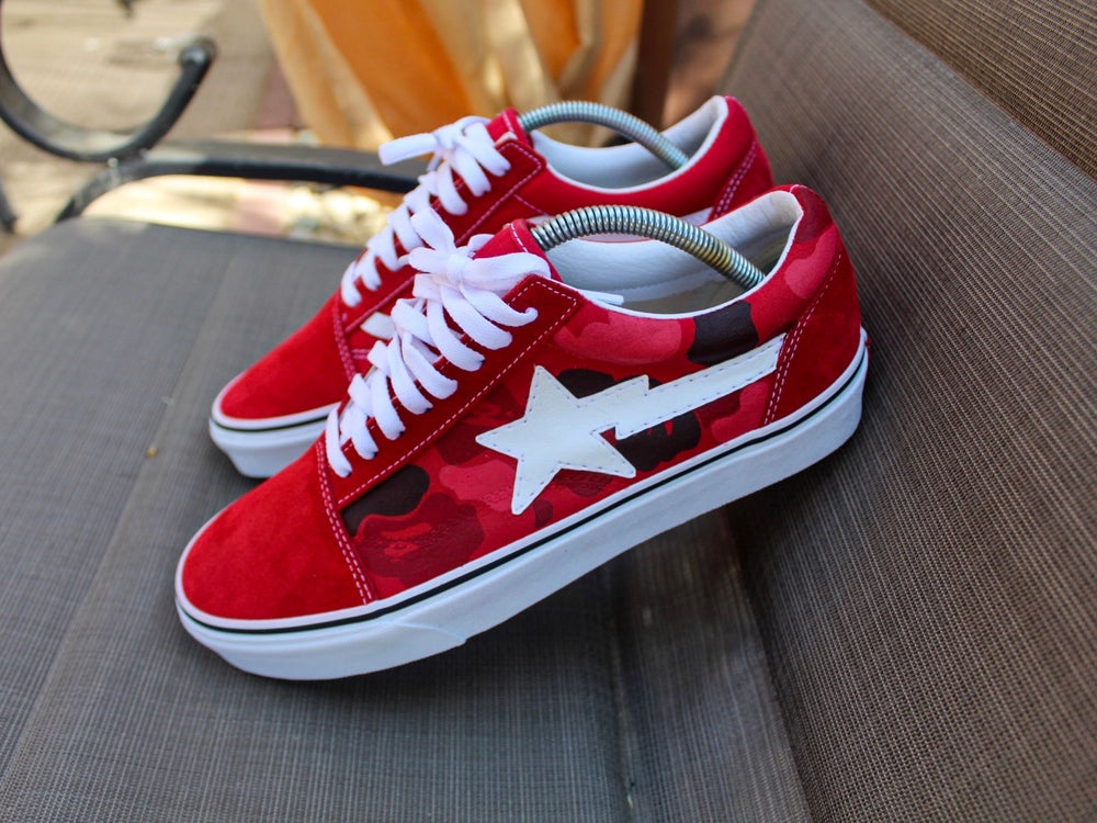 "Image of Red ""Bapesta"" Old Skool Lows"
