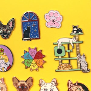 Image of CAT THEMED MYSTERY SECONDS PIN BAGS - various designs - more than 50% off! Lucky dip enamel pins!