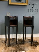 Image 1 of Black and mahogany bedside/side tables