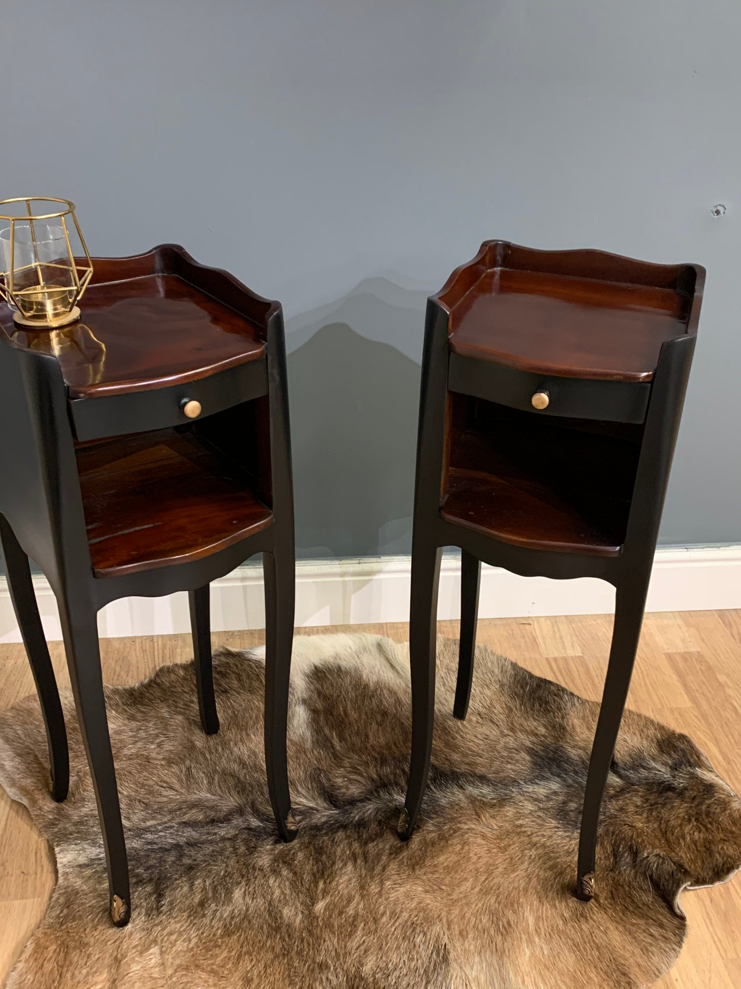 Image of Black and mahogany bedside/side tables