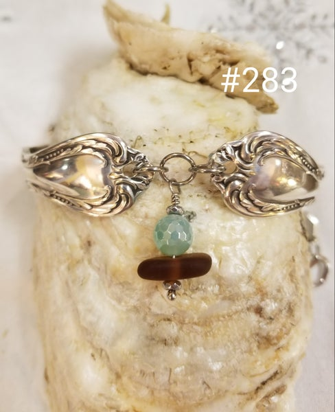 Image of Vintage Flatware Bracelet- Sea Glass- Pastel Green Agate- #283