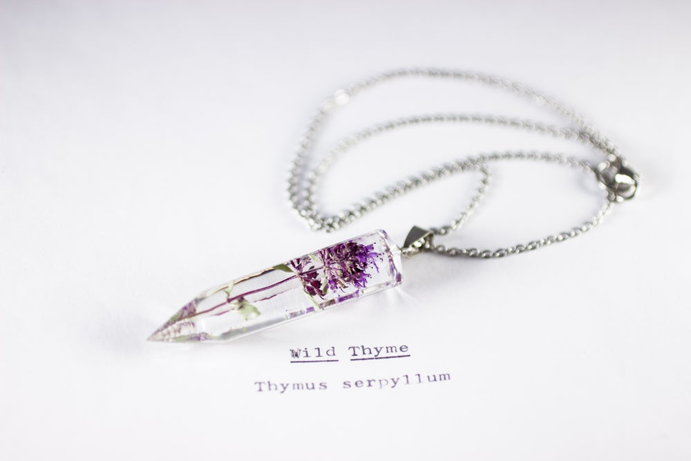 Image of Wild Thyme (Thymus serpyllum) - Medium Crystalline Pendant #2