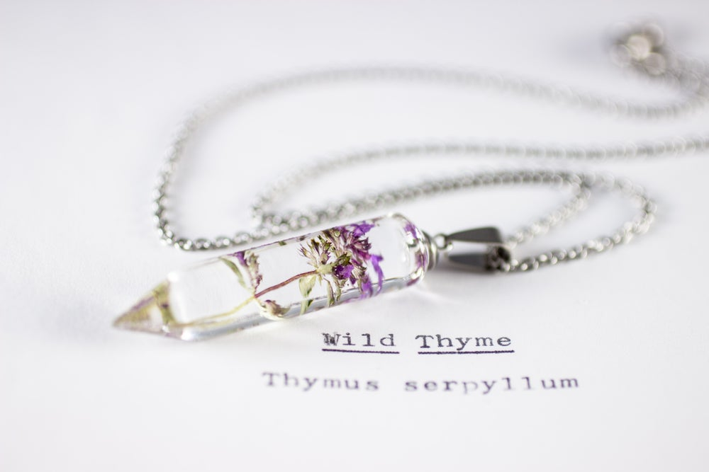 Image of Wild Thyme (Thymus serpyllum) - Small Crystalline Necklace #2