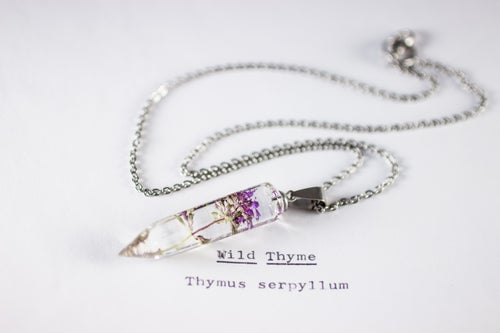 Image of Wild Thyme (Thymus serpyllum) - Small Crystalline Necklace #2