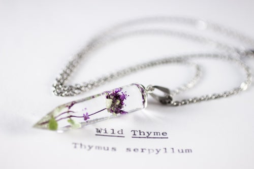 Image of Wild Thyme (Thymus serpyllum) - Small Crystalline Necklace #3