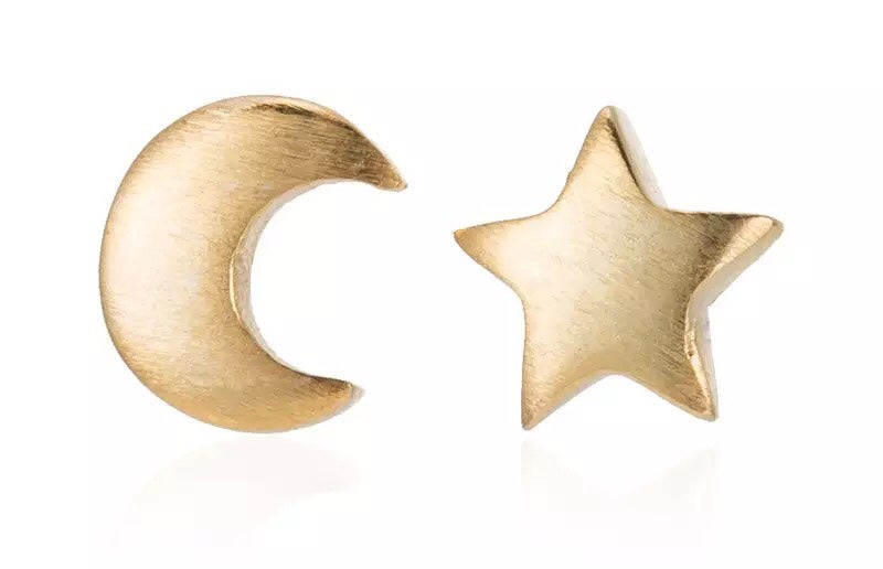 Image of Star & Moon studs - silver & gold