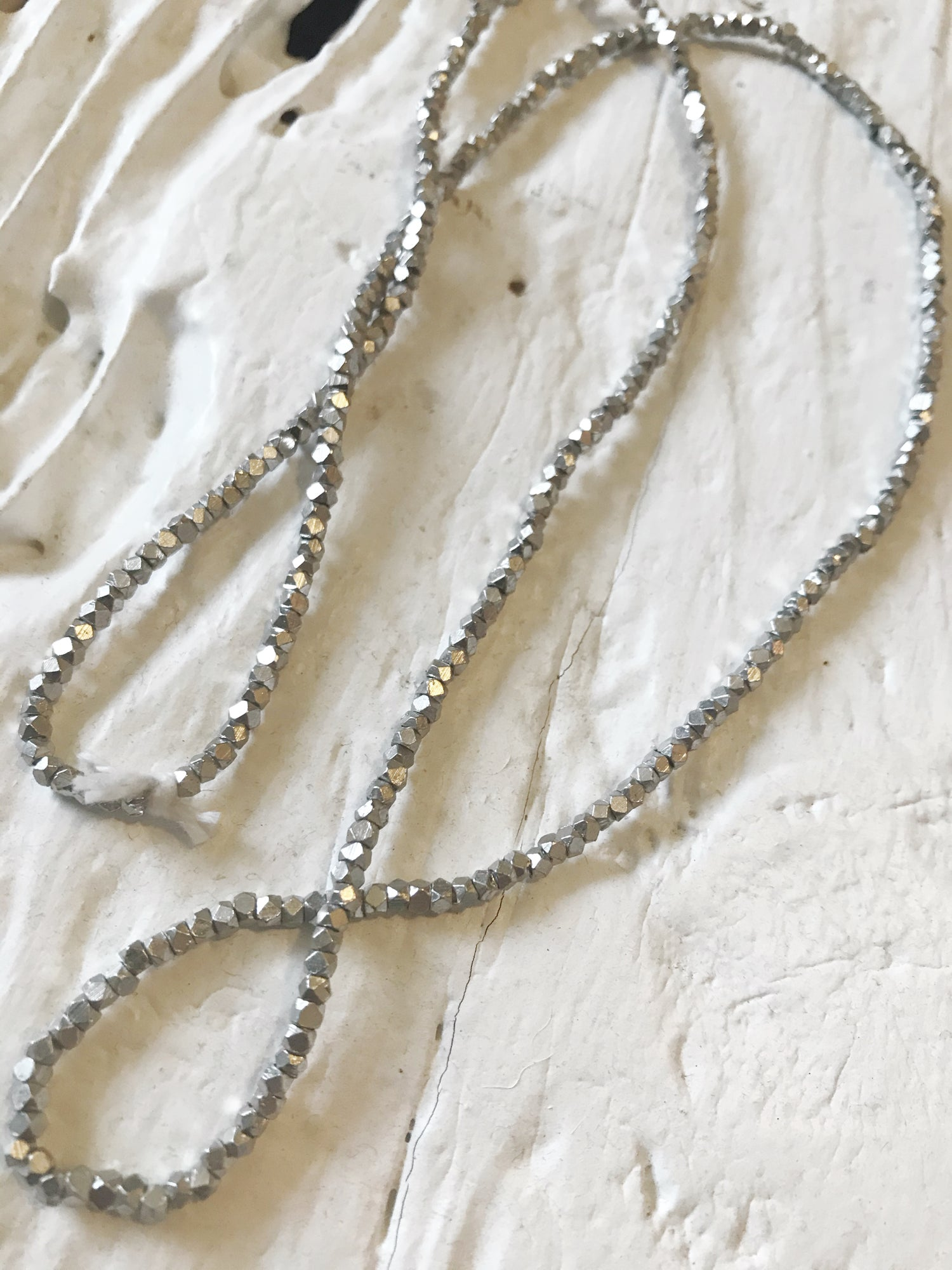 Image of Tiny Silver Beaded Necklace #101