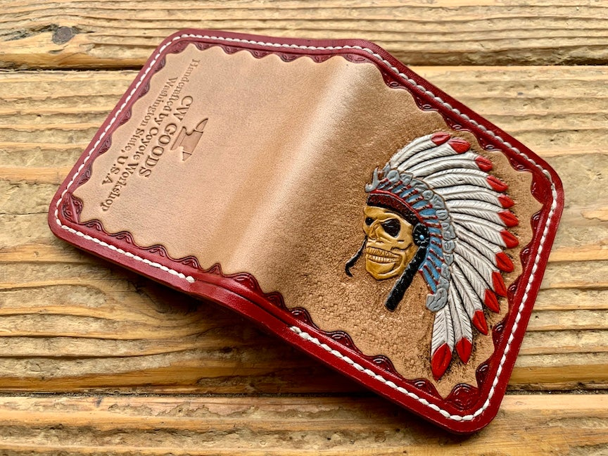 "Image of ""Chief Skull"" Custom Bi-Fold Wallet with Cash Slot and Four Card Slots."