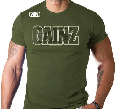 Image of Men's GAINZ 2.0 BLOWN T Shirt - Military Green