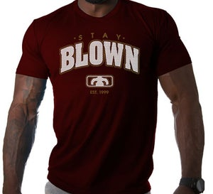 Image of Men's STAY BLOWN T Shirt - Maroon