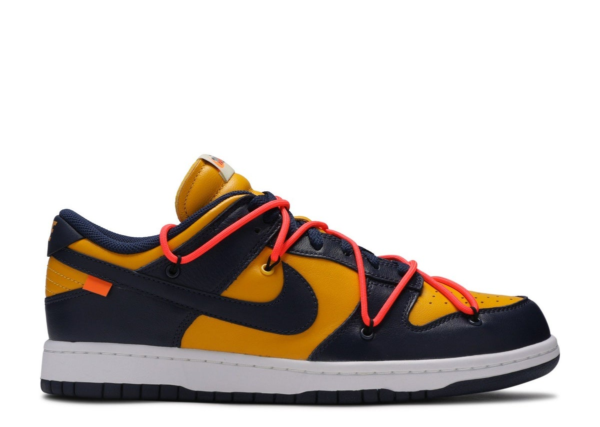 "Image of NIKE DUNK LOW LTHR/OW ""OFF WHITE"" Midnight Navy"