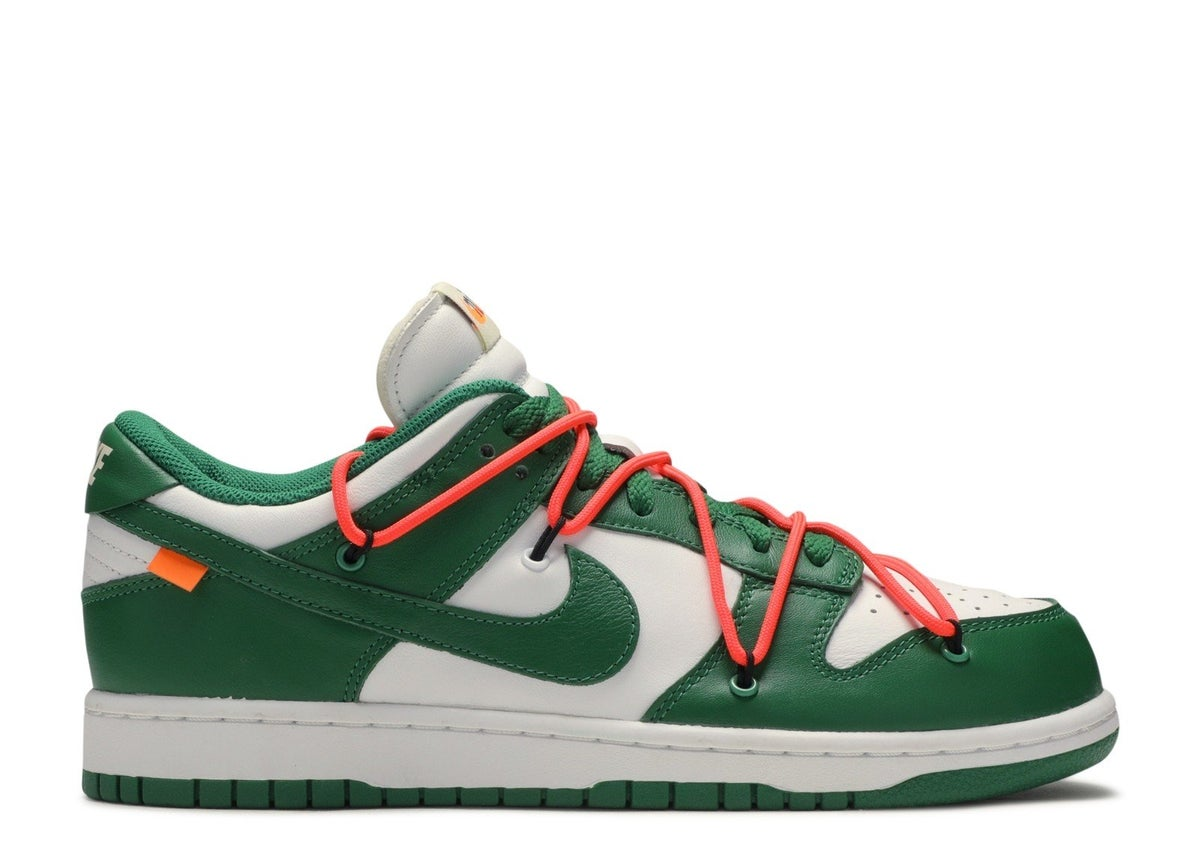 "Image of NIKE DUNK LOW LTHR/OW ""OFF WHITE"" Pine Green"