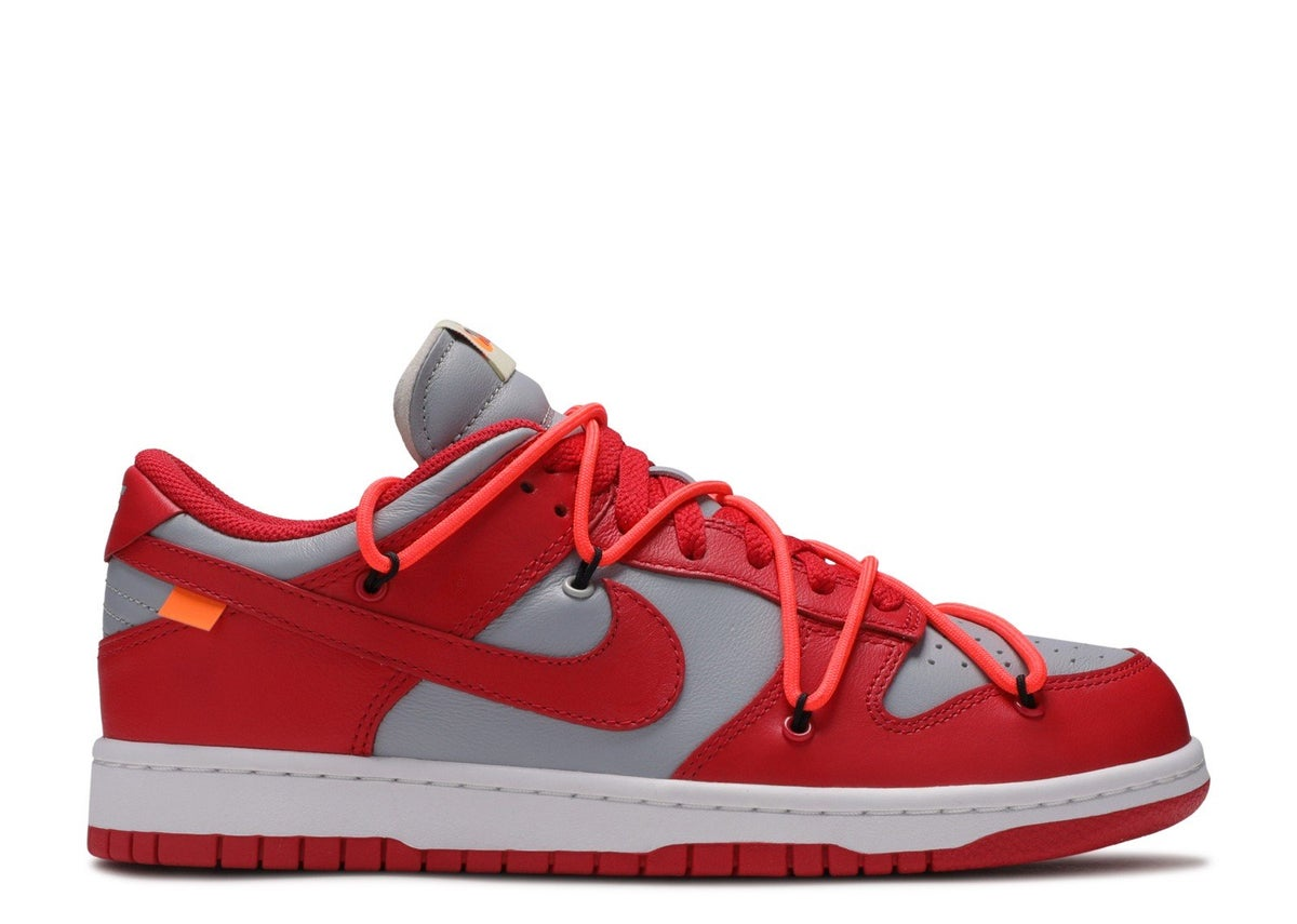 "Image of NIKE DUNK LOW LTHR/OW ""OFF WHITE"" University Red"