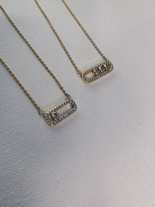 Image of CHECK MATE • Oval Bar CZ Necklace