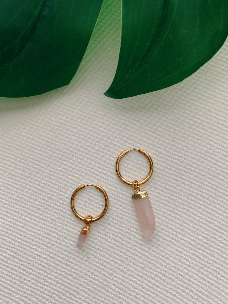 Image of MOXIES • Rose Quartz Earrings