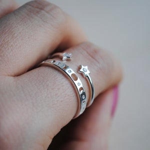 Image of Capella double star crystal ring (sterling silver)
