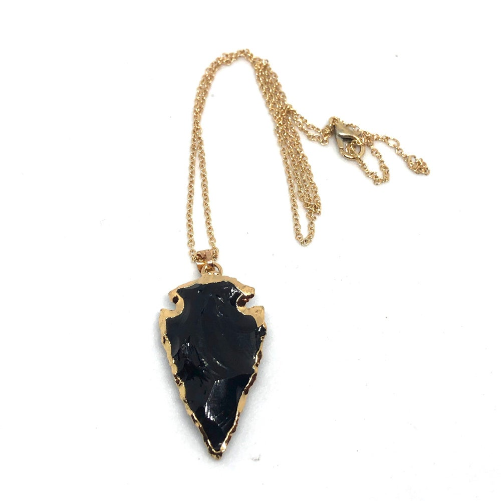 Image of Arrowhead Necklace (Obsidian with Gold)
