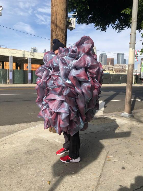 Image of Iridescent Abalone ruffle coat