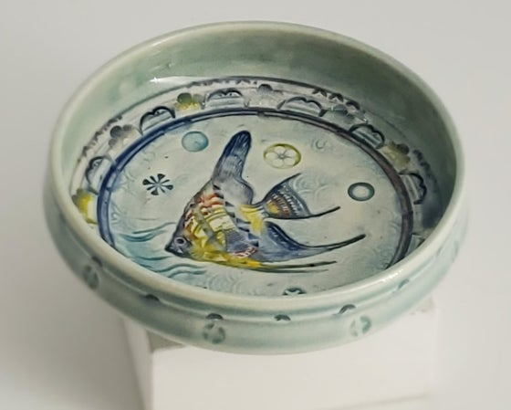 Image of Swimming Angelfish Small Porcelain Dish