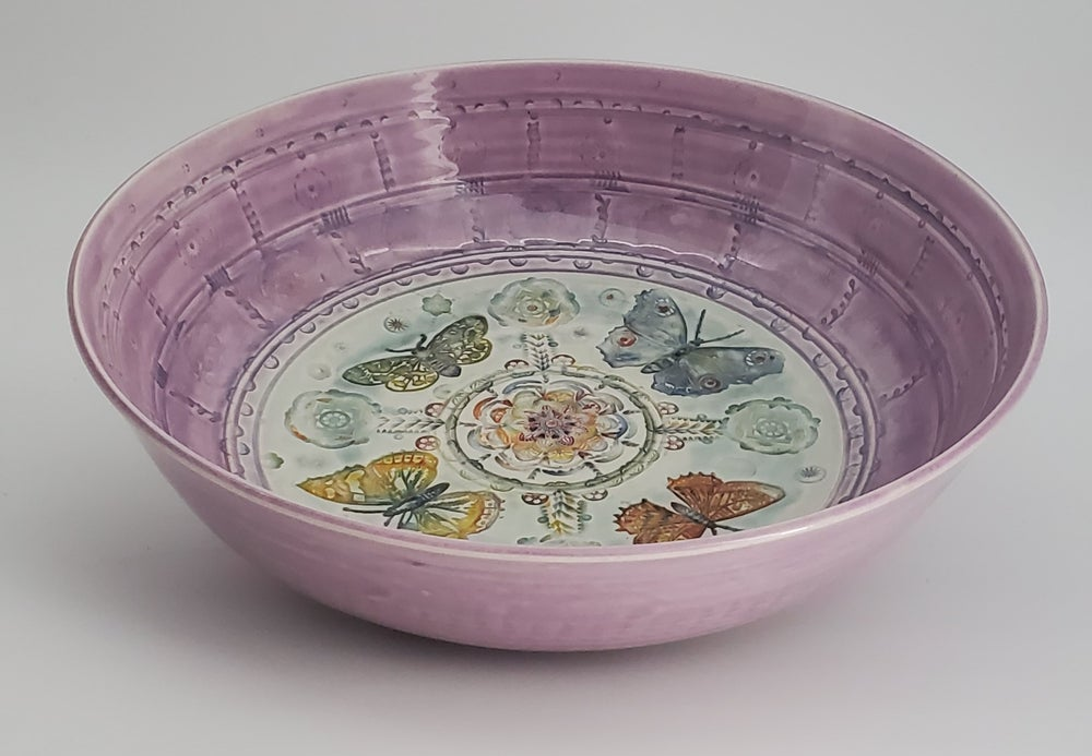 Image of Extra Large Lilac Pink Butterfly Bowl