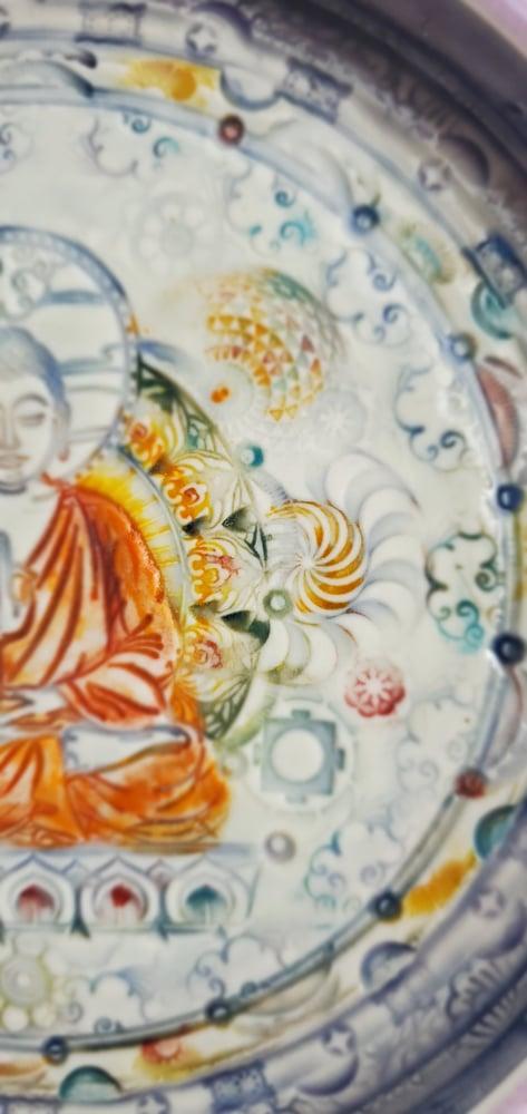 Image of Saffron Nirvana Meditation Porcelain Wall Piece
