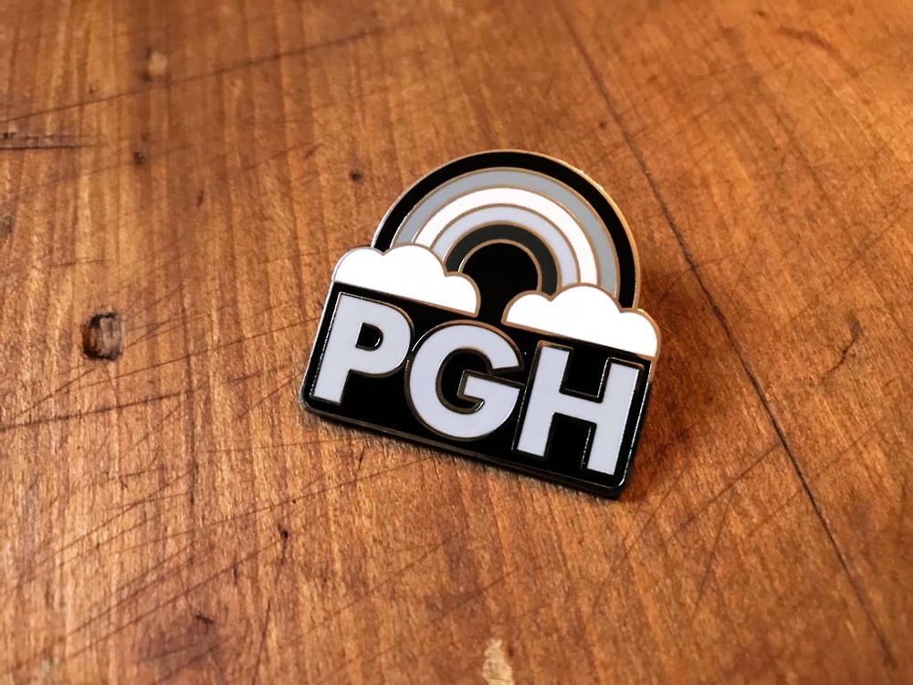 Image of PGH Greynbow Pittsburgh Grey Rainbow Enamel Pin