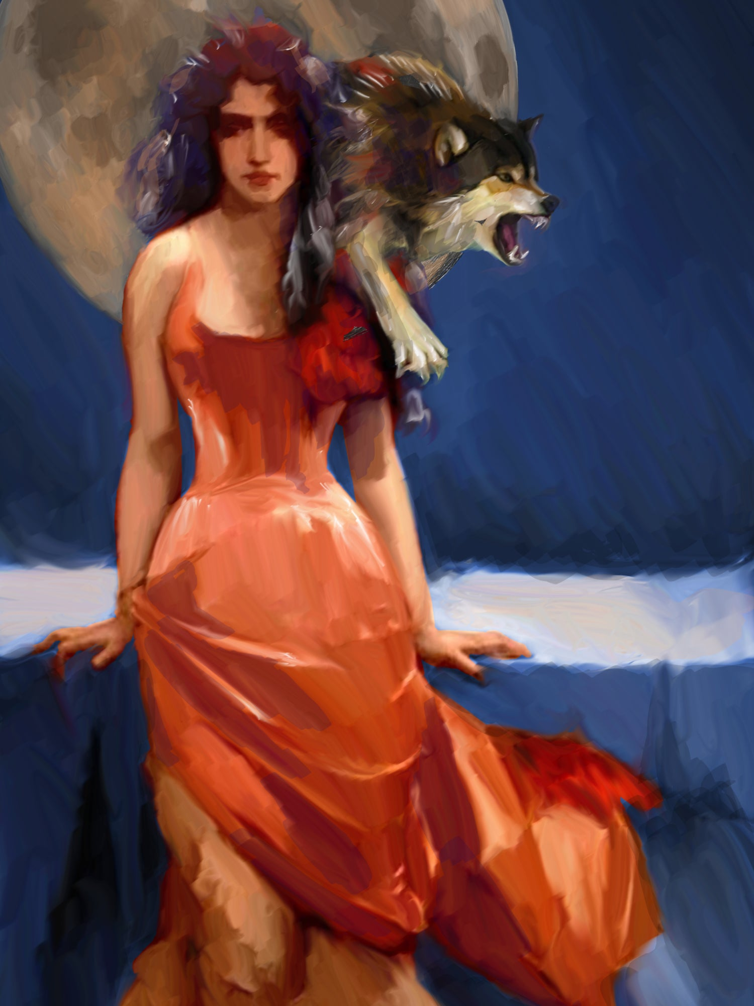 Print 18x24 Witch and wolf moon