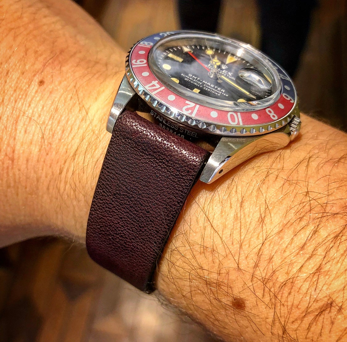 Image of Dark Burgundy Horse vintage watch-strap