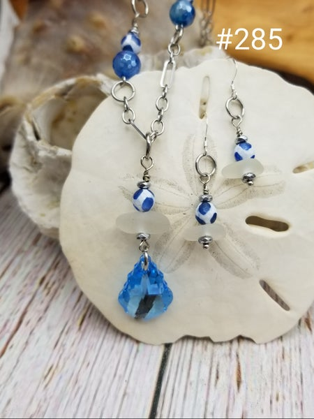 Image of Sea Glass- Swarovski Crystal- Blue Agate- Earrings- Necklace- #285