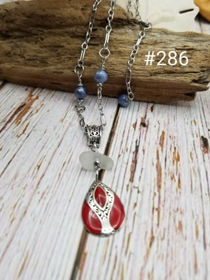 Image of Sea Glass- Red Coral Sterling- Sodalite- Necklace- #286
