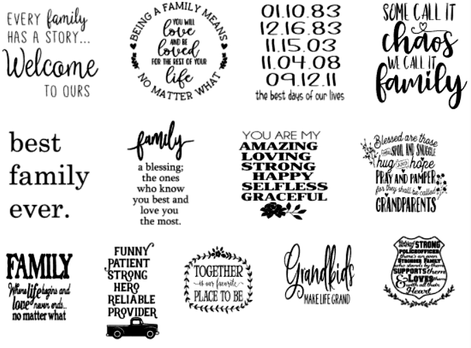 Image of Family Designs Collection - 12x12 Unframed Wood Sign