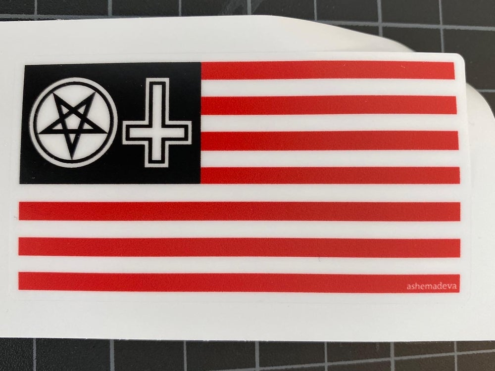 Pentagram & Upside Down Cross American Flag Sticker