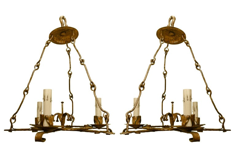 Image of Pair of 20th Century Gilded Iron Chandeliers from Barcelona
