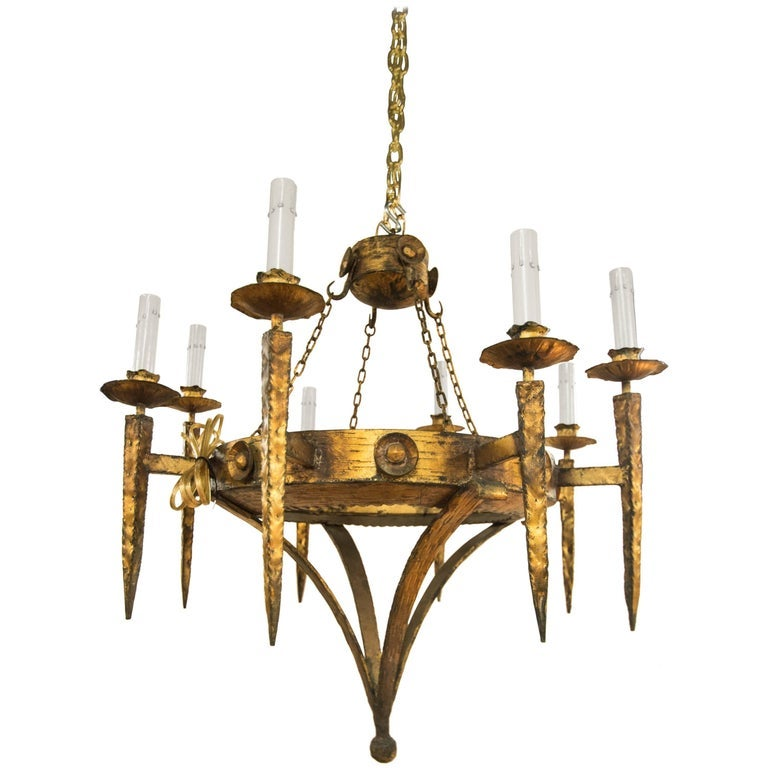 Image of Early 20th Century Gilt Iron Chandelier