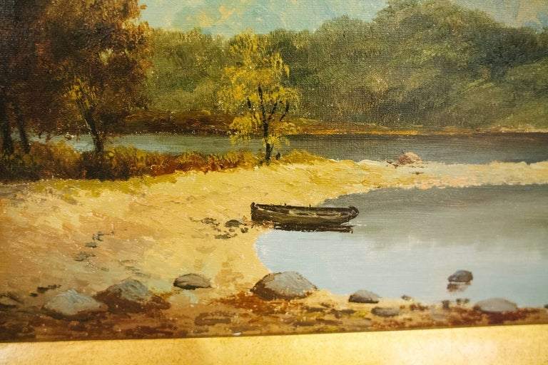 Image of 19th Century English Landscape with Sailboat