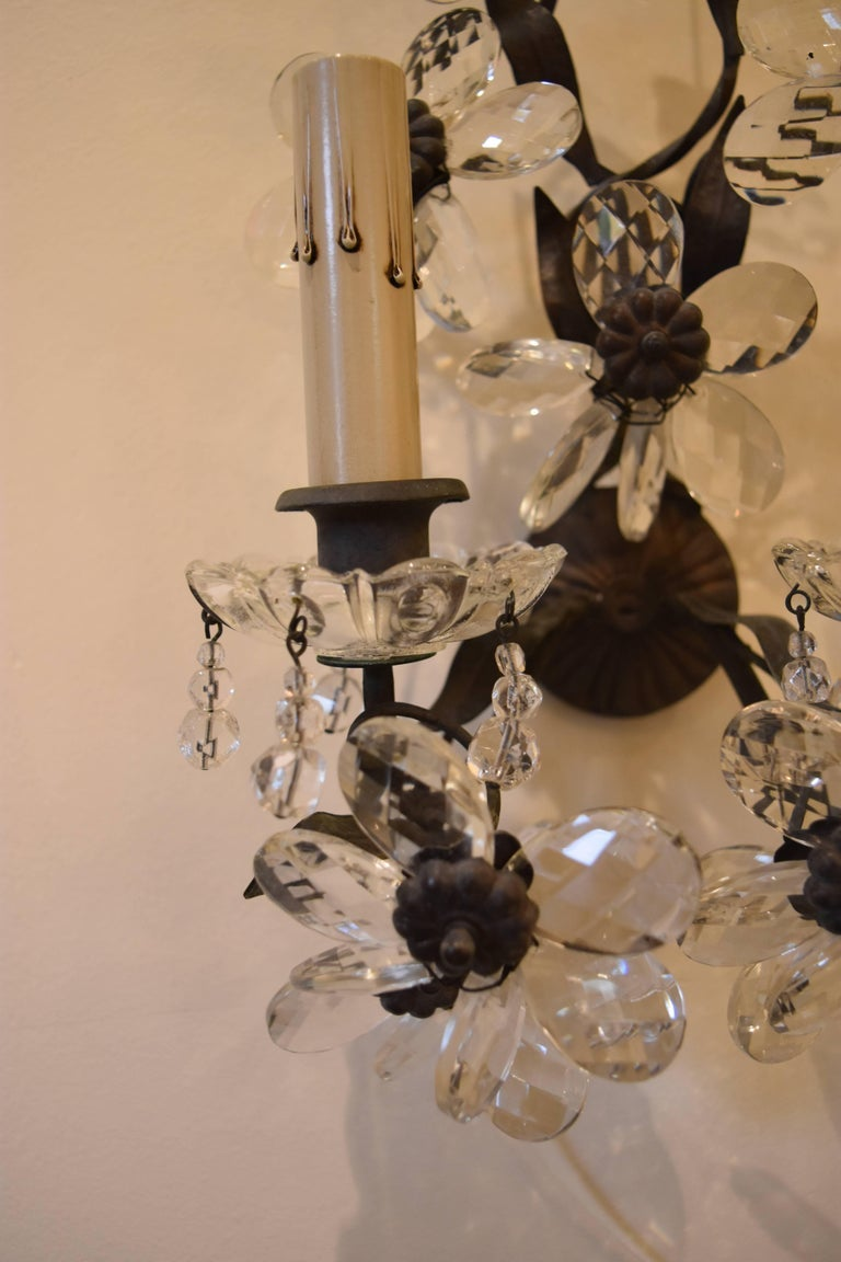 Image of Set of Four Early 20th Century Maison Baques Style Flower Prism Sconces