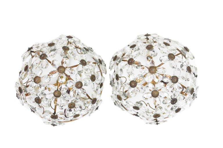Image of Pair of Vintage French Crystal and Gilded Iron Ceiling Mount Light Fixtures