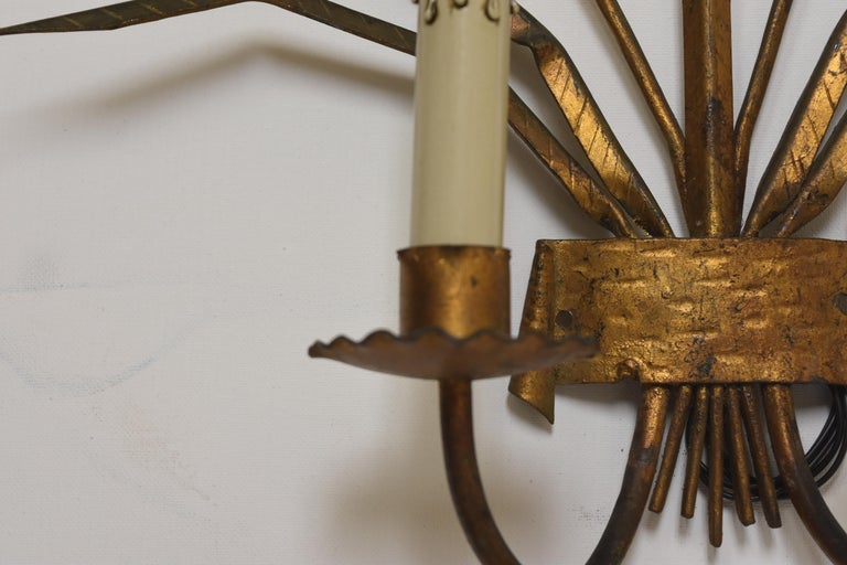 Image of Pair of Gilded Metal Sconces from Barcelona