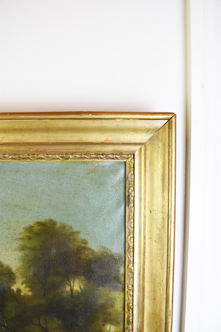 Image of 19th Century Hand-Painted Trumeau Mirror