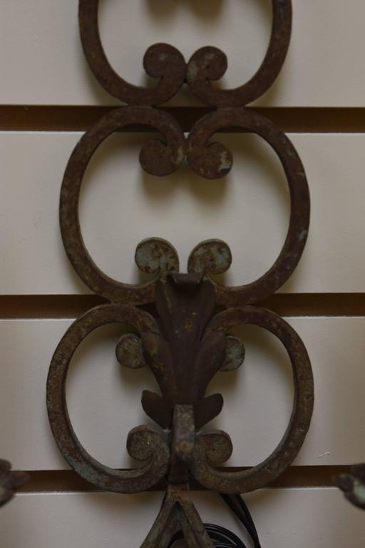 Image of Pair of Early 20th Century French Iron Sconces