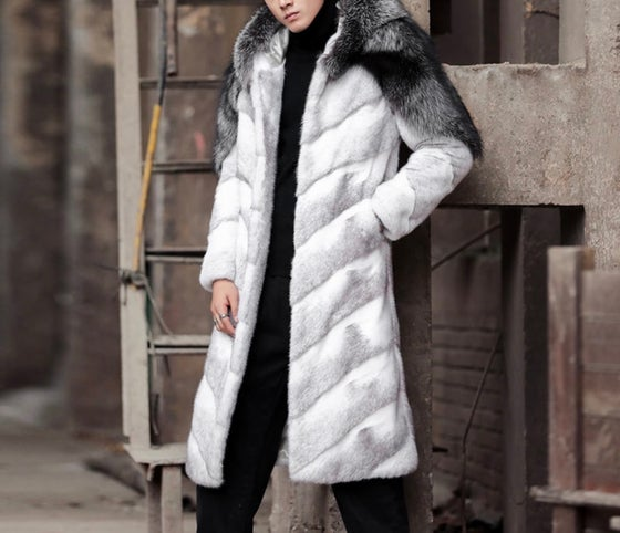 Image of Men's James Mink X Silver Fox Coat