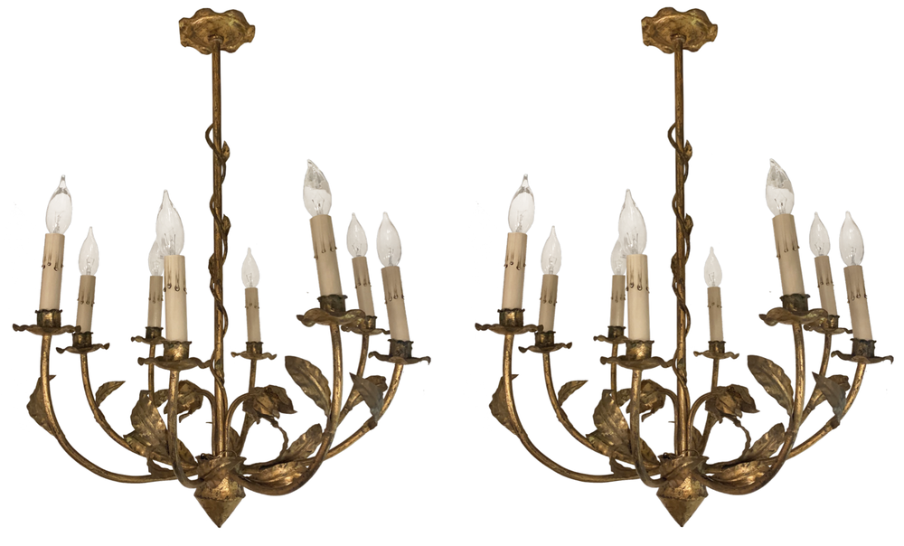 Image of Pair of Gilded Metal Chandeliers from Barcelona