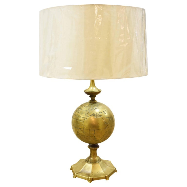 Image of Vintage Italian Bronze or Brass Globe Lamp