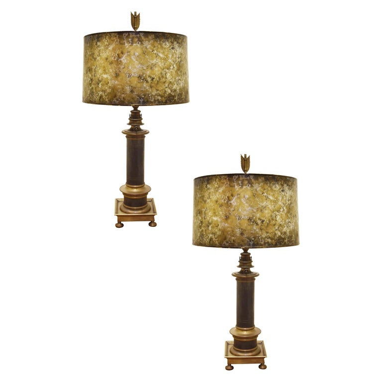 Image of Pair of Vintage Brass Lamps