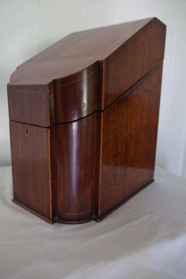 Image of Antique English Cutlery Box with String Inlay