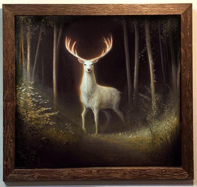 Image of Luke Hillestad 'Stag' framed wood print signed numbered