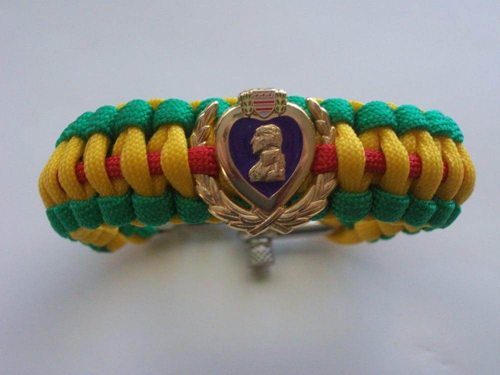 Image of Vietnam Veteran / Purple Heart Para cord bracelet
